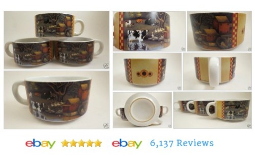 3 Lowell Herrero Soup Mugs Farm Cow Checkered Edge Cups #Mug #Cup #DecorativeCollectible #etsy #PromoteEbay #PictureVideo @SharePicVideo