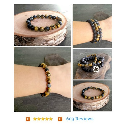 Black Diamond Tiger Eye Bead Bracelet, Navy Blue Tiger Eye Gold Beaded Stretch Bracelet, Gold Black Navy Beaded Bracelet, Gold Black Jewelry #Jewelry #Bracelet #BeadedBracelet #etsy #PromoteEtsy #PictureVideo @SharePicVideo