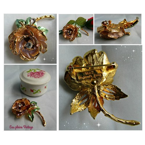GRAZIANO Rhinestone Enamel Flower ENGLAND'S ROSE Pin Brooch Honor Princess Diana #socialselling #PromoteStore #PictureVideo @SharePicVideo