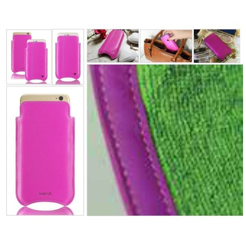 Pink Genuine Leather 'Built-in Screen Cleaning Technology' iPhone 7 pouch case. #socialselling #PromoteStore #PictureVideo @SharePicVideo
