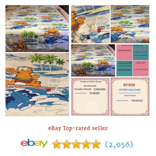 Vintage Garfield Surfing Quilt/Doona SB Cover OR Fabric TM Jim Davis #ebay @ebayvintageretr  #etsy #PromoteEbay #PictureVideo @SharePicVideo