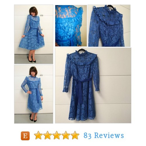 Vintage Romantic Cobalt Blue Lace Dress #etsy @evolutionvtg https://www.SharePicVideo.com/?ref=PostPicVideoToTwitter-evolutionvtg #etsy #PromoteEtsy #PictureVideo @SharePicVideo