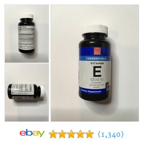 Essentials Vitamin E 1000 IU 50 Softgels Expiration 08/2019  | eBay #etsy #PromoteEbay #PictureVideo @SharePicVideo