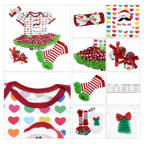 #Baby-Girls #Christamas #TUTU Dress|Baby Bloomer|Hat Hairpin(4pcs-6-12Months Colourful Dot #socialselling #PromoteStore #PictureVideo @SharePicVideo