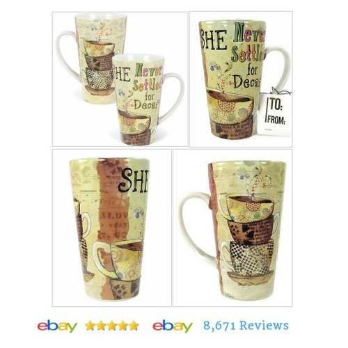Funny Coffee #Mug Cup She Never Settled For Decaf 19 oz Ceramic Latte #Cup #etsy #PromoteEbay #PictureVideo @SharePicVideo
