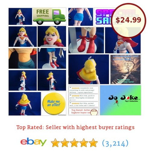 "WARNER BROS STUDIO STORE-SUPERGIRL&OUTFIT-10"" BEAN PLUSH-D.C. COMICS-NEW/TAGS 