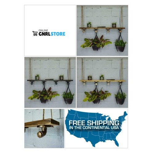#PORTLAND INDUSTRIAL CHIC HANGING SHELF PLANTER #socialselling #PromoteStore #PictureVideo @SharePicVideo