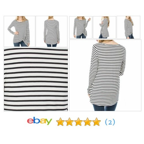 Women's Striped Knit Tied Waist Long Sleeve Top #sellonebay #ebay @brickpetal_la  #etsy #PromoteEbay #PictureVideo @SharePicVideo