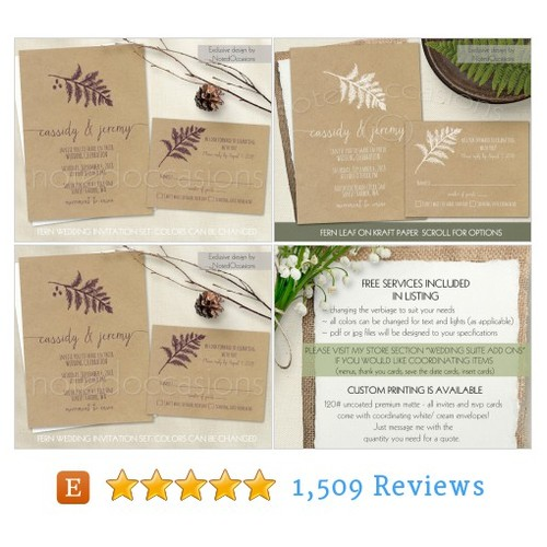 Ferns Wedding Invitation Printable Set Fern #etsy @sandybuckley  #etsy #PromoteEtsy #PictureVideo @SharePicVideo