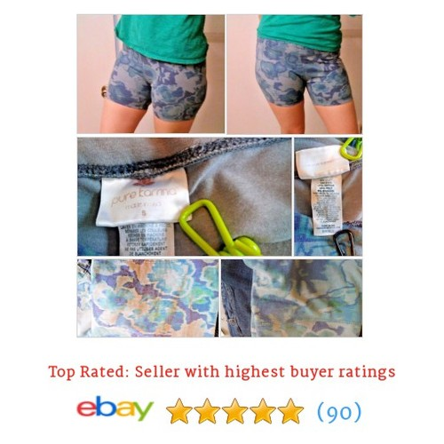 Pure Karma Shorts Yoga Pilates Bike Fitness Size Small S Blue Gray Green Floral | #Short #PUREKARMA #WomensClothing #etsy #PromoteEbay #PictureVideo @SharePicVideo