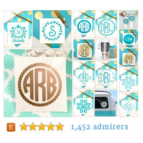 Monogram Decal #etsy shop #monogramdecal @turqpineapple  #etsy #PromoteEtsy #PictureVideo @SharePicVideo