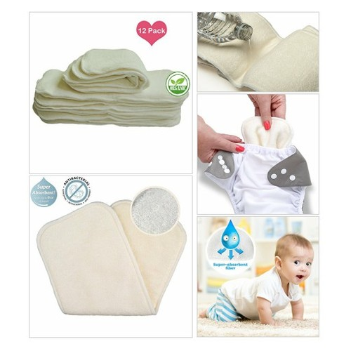 My# Baby# Cloth #Diaper 12pcs 4layers Super Water Absorbent Antibacterial Bamboo Inserts  #socialselling #PromoteStore #PictureVideo @SharePicVideo