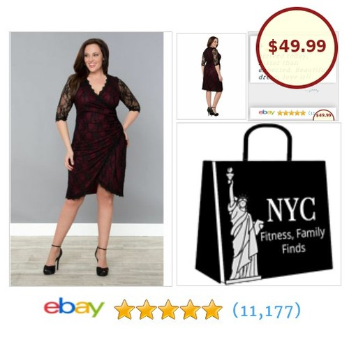 "💗Now you're ready to sizzle at that upcoming party because you have this #PlusSize black lace 💗dress in hand! The #FauxWrap style and red lining say 💗""sexy style""!  #etsy #PromoteEbay #PictureVideo @SharePicVideo"