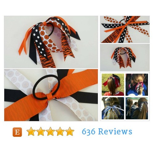 Tiger print basketball bow, hair streamers, #etsy @burstingcocoon  #etsy #PromoteEtsy #PictureVideo @SharePicVideo
