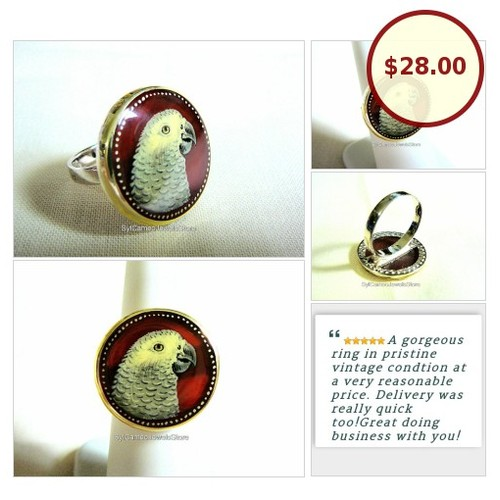 #HandPainted African Grey #Parrot #Art Cameo Sterling Silver #Ring Red #Carnelian Gem #SylCameoJewelsStore #Jewelry #StatementRing #SpecialT #integrityt #etsy  #etsy #PromoteEtsy #PictureVideo @SharePicVideo