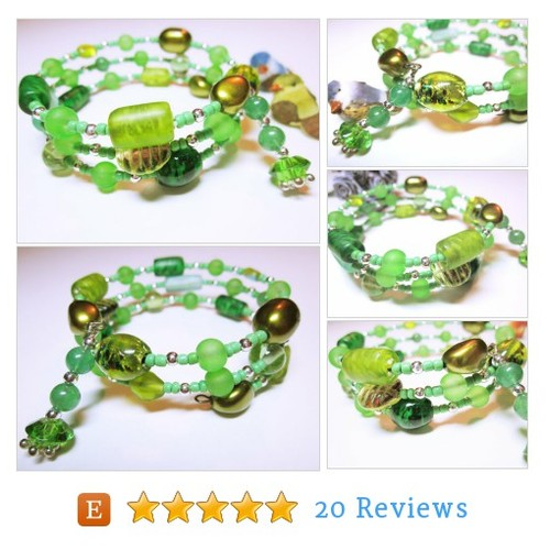 Green Beaded Wrap, Boho Cuff Bracelet, #etsy @pearadice2  #etsy #PromoteEtsy #PictureVideo @SharePicVideo