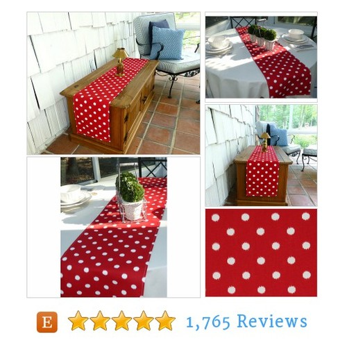 Red White Polka Dot Table Table Runners for #etsy @preppyowlboutiq  #etsy #PromoteEtsy #PictureVideo @SharePicVideo