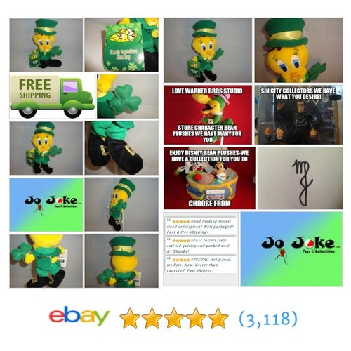 WARNER BROS STUDIO STORE-LEPRECHAUN TWEETY BEAN PLUSH-8 INCH-NEW/TAGS-1999-RARE! | eBay #WARNERBROSSTUDIOSTORE #etsy #PromoteEbay #PictureVideo @SharePicVideo
