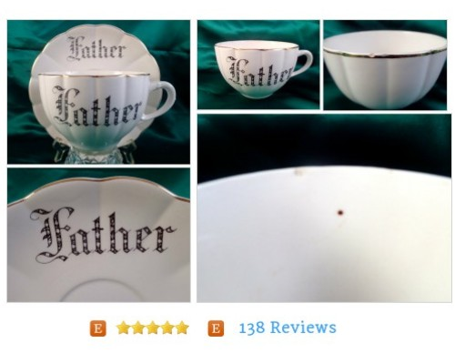 Large #Vintage FATHER tea cup and saucer, very old! Oversized #Antique #Collectible #etsy #PromoteEtsy #PictureVideo @SharePicVideo