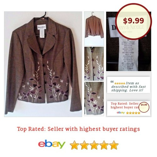 #Danny&Nicole Women's #Blazer Size 10 M #Embroidered Floral #Spring #Suit #Blazer #fashionista #fashion #auction #etsy #PromoteEbay #PictureVideo @SharePicVideo