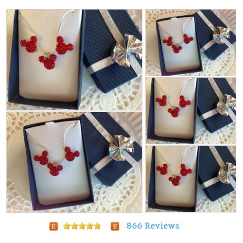 #MOUSE EARS #Wedding Party in Dazzling Bright Red Acrylic #Jewelry #JewelrySet #etsy #PromoteEtsy #PictureVideo @SharePicVideo