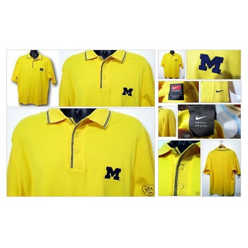 University of Michigan Yellow  Blue NIKE #Polo Shirt Sz Medium Short Sleeves #Nike #Rugby #etsy #PromoteEbay #PictureVideo @SharePicVideo