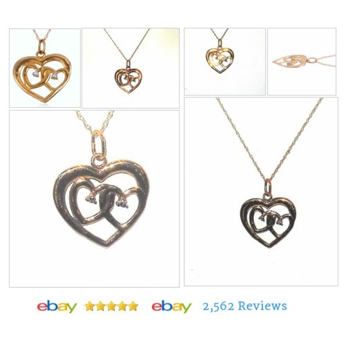 10 k Yellow Gold Double Heart Necklace with chain #Pendant #FineNecklace #PreciousMetalwithoutStone #etsy #PromoteEbay #PictureVideo @SharePicVideo