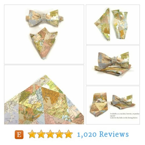 Map bowtie, Map pocket square, world #etsy @thewoolfish  #etsy #PromoteEtsy #PictureVideo @SharePicVideo