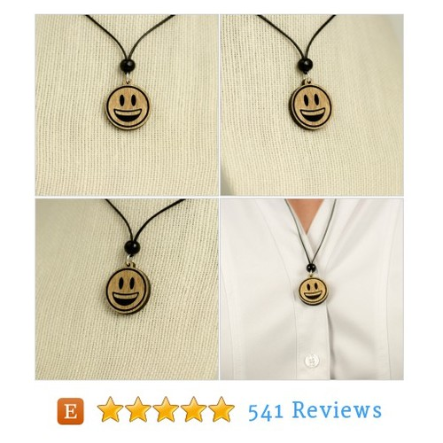 Smiley Face Emoji Wooden Charm Necklace - #etsy @ladymaggies  #etsy #PromoteEtsy #PictureVideo @SharePicVideo
