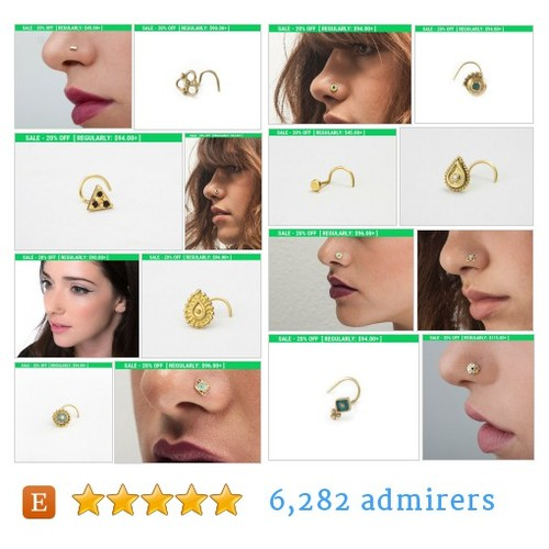 Solid Gold Nose Studs #etsy shop #solidgoldnosestud @meiravniv  #etsy #PromoteEtsy #PictureVideo @SharePicVideo