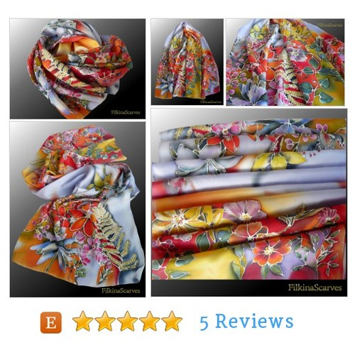 Sunny Flowers Silk Satin scarf Handpainted Scarf Christmas gift #etsy #PromoteEtsy #PictureVideo @SharePicVideo