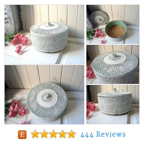 White Round Ornate Vintage Storage #etsy @alishagk  #etsy #PromoteEtsy #PictureVideo @SharePicVideo