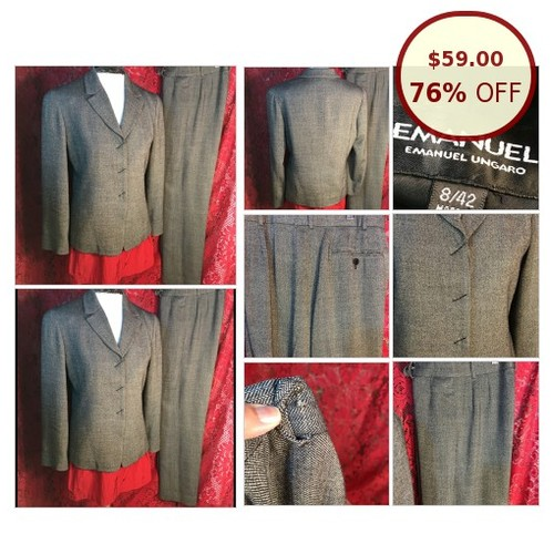 EMANUEL UNGARO pant Suit Wool Blend size 6 @thelmathrift https://www.SharePicVideo.com/?ref=PostPicVideoToTwitter-thelmathrift #socialselling #PromoteStore #PictureVideo @SharePicVideo