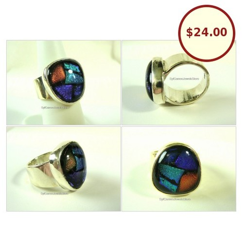 #Statement #Ring #SterlingSilver #Handmade #Iridescence #FusedGlass #Cabochon #etsyspecialt #integritytt #Stone #Jewelry #SylCameoJewelsStore  #etsy #PromoteEtsy #PictureVideo @SharePicVideo