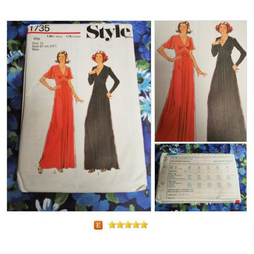 Style #Sewing Pattern - 1976 - Woman's dress #Tools #Patterns #etsy #PromoteEtsy #PictureVideo @SharePicVideo