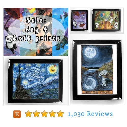 SALE: Art Set of Four 8x10 Print, Choose #etsy @jolikesbunnies  #etsy #PromoteEtsy #PictureVideo @SharePicVideo