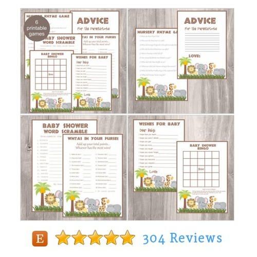 Baby Shower Games, Safari Baby Shower #etsy @isidesigns  #etsy #PromoteEtsy #PictureVideo @SharePicVideo
