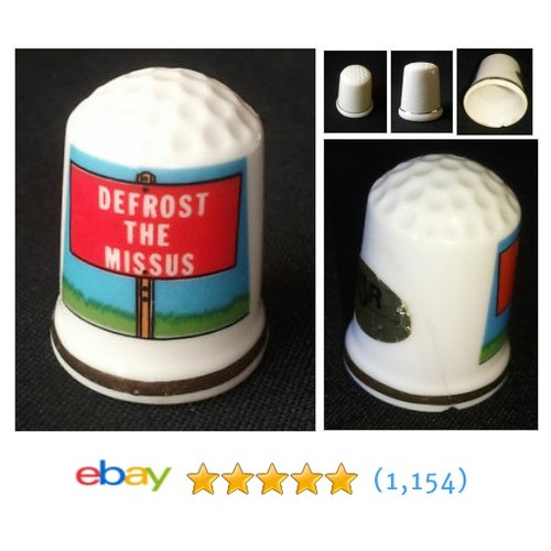 Defrost the Missus Gold Trimmed Porcelain Thimble #ebay @alg0106  #etsy #PromoteEbay #PictureVideo @SharePicVideo