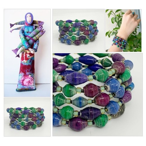 Paper Bead Memory Wire Bracelet in Blue, Purple and Green African Fair Trade Recycled Beads  Maximalist Boho Cuff  #etsyspecialt  #SpecialTGIF   #TMTinsta  @pawelterlecki  @BlazedRTs @FearRTs  @sme_rt #paperbeads #memorywirebracelet #africanbeads #etsy #PromoteEtsy #PictureVideo @SharePicVideo