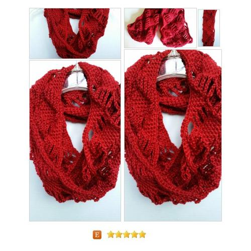 #Scarf Infinity Cowl Diamond Red Crocheted #Wrap #Accessory  www.softtotouch.info #etsy #PromoteEtsy #PictureVideo @SharePicVideo
