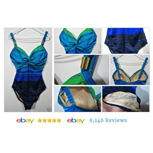 CAROL WIOR Women's Bathing Suit Blue Hombre Sz 16 One Piece Swimming Underwire #Bathingsuit #etsy #PromoteEbay #PictureVideo @SharePicVideo