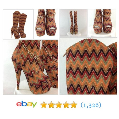 Woman Platform High Heel Chevron Print Open Toe Boots Size 5.5M Fabric Uppers  | eBay #etsy #PromoteEbay #PictureVideo @SharePicVideo