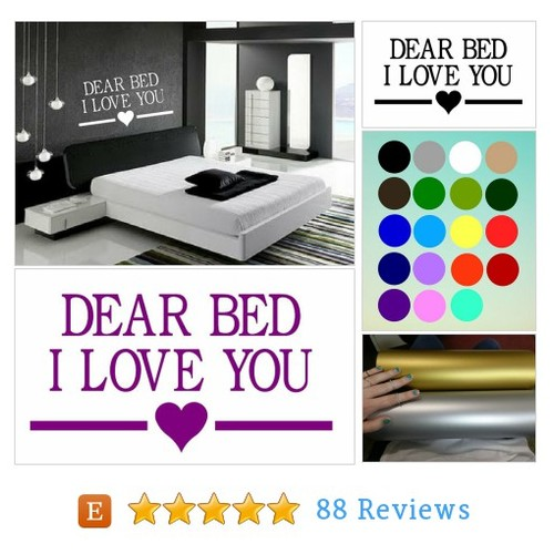 Dear Bed, I Love You- wall decal, bedroom #etsy #PromoteEtsy #PictureVideo @SharePicVideo
