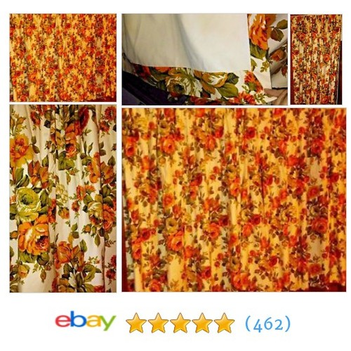"2 VINTAGE 50s Pinch PLEAT DRAPERY PANELS Orange FLOWERS 53"" L x #ebay @halloweendecor4  #etsy #PromoteEbay #PictureVideo @SharePicVideo"