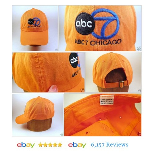 ABC Channel 7 Television Chicago  Cap Adjustable #Hat Orange #BaseballCap #MensAccessory #etsy #PromoteEbay #PictureVideo @SharePicVideo
