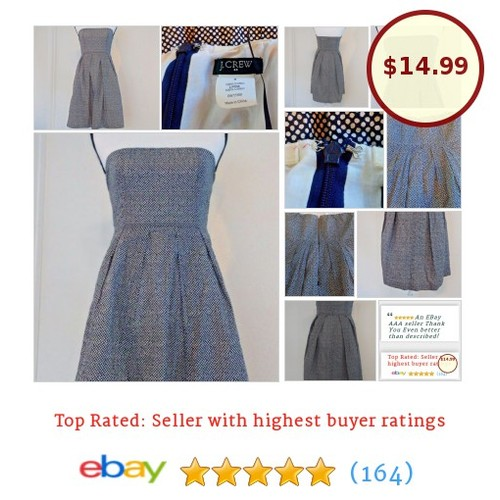 J. Crew #Dress Strapless Dot Mini Size 0 100% Cotton Summer Spring Picnic Lorelei | eBay #JCREW #Sundress #etsy #PromoteEbay #PictureVideo @SharePicVideo