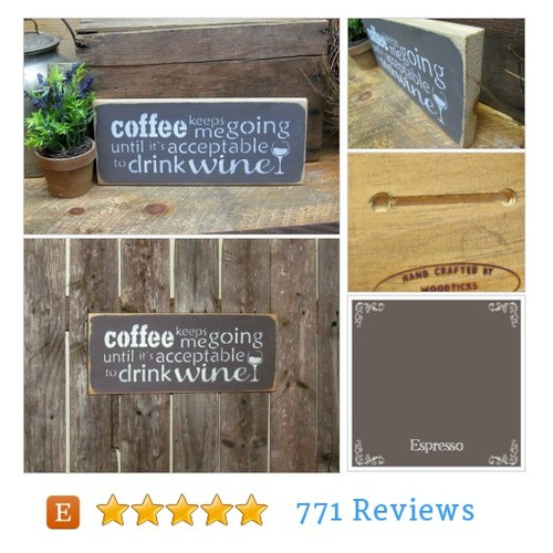 Funny coffee Wine sign #living #wallsign @woodtickssigns  #etsy #PromoteEtsy #PictureVideo @SharePicVideo