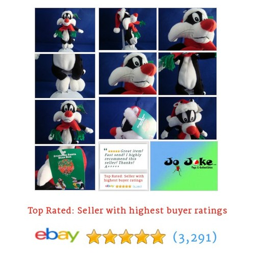 "WARNER BROS STUDIO STORE-SYLVESTER SANTA-9""-BEAN PLUSH-SANTA CAP-SCARF-NEW/TAGS 