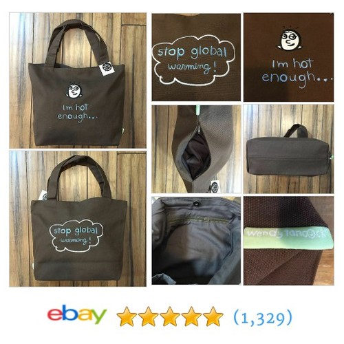 "High Quality Tote Brown Canvas Embroidered ""I'm Hot Enough Stop Global Warming""  