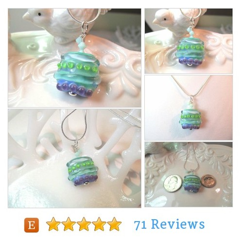 #Necklace green blue purple glass lampwork bead, pale green crystals, square bead #Jewelry #pendantnecklace #etsy #PromoteEtsy #PictureVideo @SharePicVideo
